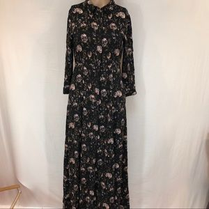 Zara Woman long dress Sz XS  black  button front
